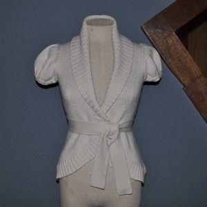 BCBG MAX AZRIA Oatmeal Wrap Cardigan Sweater [F3]